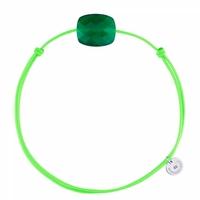 Bracelet Cordon Vert Friandise Coussin Agate Verte