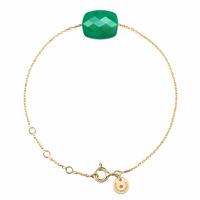 Bracelet Or Jaune Friandise Coussin Agate Verte