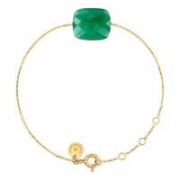 Bracelet Or Jaune Oversize Friandise Coussin Agate Verte
