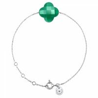 Bracelet Or Blanc Trèfle Agate Verte