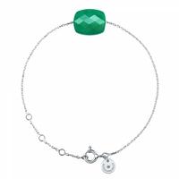 Bracelet Or Blanc Friandise Coussin Agate Verte