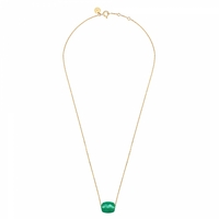 Collier Or Jaune Friandise Coussin Agate Verte