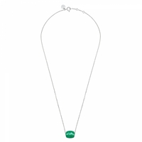 Collier Or Blanc Friandise Coussin Agate Verte