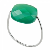 Bague Or Blanc Friandise Coussin Agate Verte