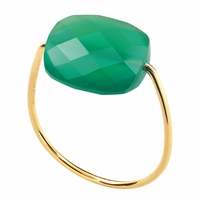 Bague Friandise Or Jaune Coussin Agate Verte