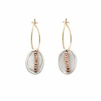 Boucles d'Oreilles Mini Créoles Scarabée Argent et Gold