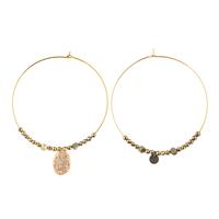 Boucles d'Oreilles Créoles XL Médaille Paillettes Gold