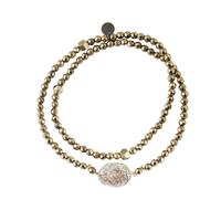 Bracelet Double Médaille Paillettes Perles Kaki et Argent