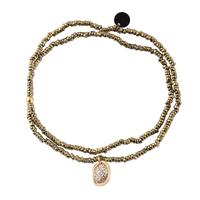 Bracelet Double Pendentif Médaille Paillettes Perles Kaki et Gold