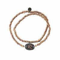 Bracelet Double Médaille Paillettes Perles Rose Gold et Noir
