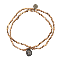 Bracelet Double Pendentif Médaille Paillettes Perles Rose Gold et Noir