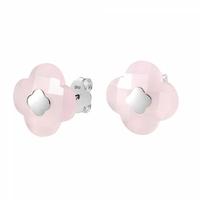 Boucles d'Oreilles - Puces Or blanc Quartz Rose