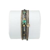 Bracelet Bahia Taupe Daim Turquoise Sauvage