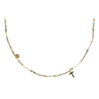 Ras de cou - Collier Huahine Turquoise, Hematite, Croix