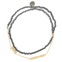 Bracelet Double Graphik Stone Gold Noir