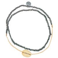 Bracelet Double Graphik Stone Galet Gold Noir