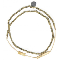 Bracelet Double Graphik Stone Gold Kaki