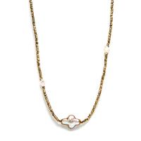 Collier - Sautoir Perle d'Eau Hematite Kaki Croix