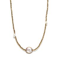 Collier - Sautoir Perle d'Eau Hématite Kaki Rond