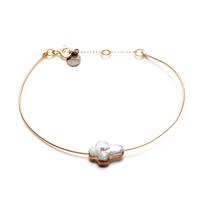 Bracelet - Jonc Perle d'Eau Gold Croix
