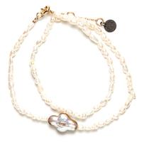 Bracelet Double Perles d'Eau Gold Croix