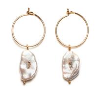 Boucles d'Oreilles - Mini Créoles Perle d'Eau Gold Naturelles
