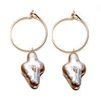 Boucles d'Oreilles - Mini Créoles Perle d'Eau Gold Croix