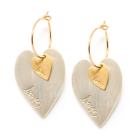 Boucles d'Oreilles - Mini Créoles Lov Coeur Duo Gold/ Silver M