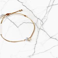 Bracelet Chaine Gold Calcédoine Bleu