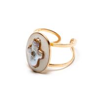 Bague Réglable Perle d'Eau Gold Croix