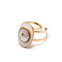 Bague Réglable Perle d'Eau Gold Rond