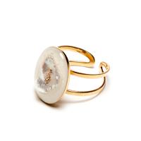 Bague Réglable Perle d'Eau Gold Pépite Naturelle