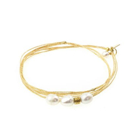 Bracelet - Multi Tours Perles d'Eau Gold