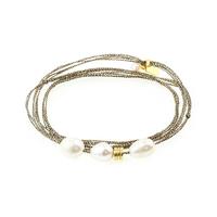 Bracelet - Multi Tours Perles d'Eau Ocre