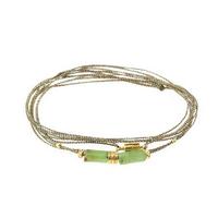 Bracelet - Multi Tours Chrysoprase Tubes Gold