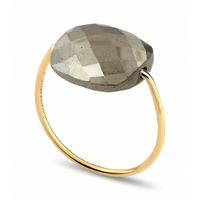 Bague Or Jaune Friandise Coussin Pyrite