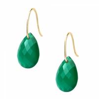 Boucles d'Oreilles - Goutte Or Jaune Agathe Verte