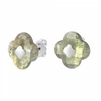 Boucles d'Oreilles - Puces Or Blanc Labradorite