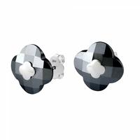 Boucles d'Oreilles - Puces Or Blanc Hématite