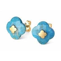 Boucles d'Oreilles - Puces Or Jaune Turquoise