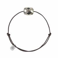 Bracelet Cordon Chocolat Friandise Coussin Pyrite