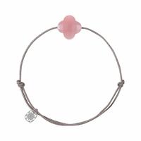 Bracelet Cordon Friandise Trèfle Guava Quartz