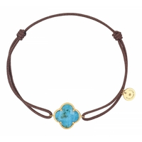 Bracelet Cordon Victoria Or Jaune Turquoise