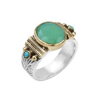 Bague Ovale M Argent - Or Quart Vert/ Turquoise