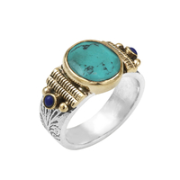 Bague Ovale M Argent - Or Turquoise/ Lapis Lazuli