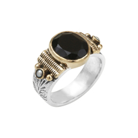 Bague Ovale M Argent - Or Onyx/ Perles