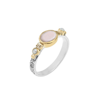 Bague Ovale S Argent - Or Opale Rose/ Perles