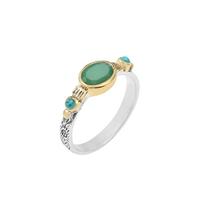 Bague Ovale S Argent - Or Quartz Vert/ Turquoise