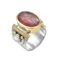 Bague Ovale XL Argent - Or Quartz Fraise/ Perles