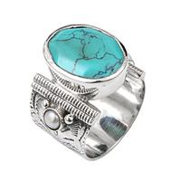 Bague Ovale XL Argent Turquoise/ Perles